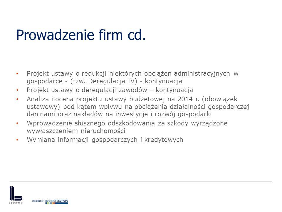 Prowadzenie firm cd. Projekt ustawy o redukcji niektórych obciążeń administracyjnych w gospodarce - (tzw. Deregulacja IV) - kontynuacja.