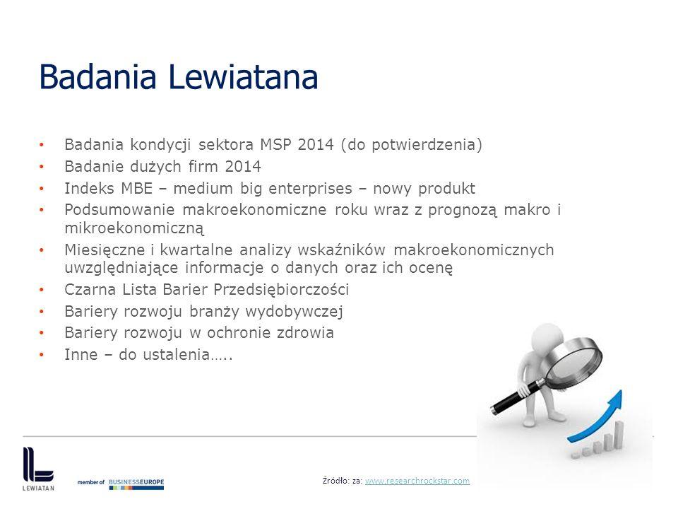 Badania Lewiatana Badania kondycji sektora MSP 2014 (do potwierdzenia)