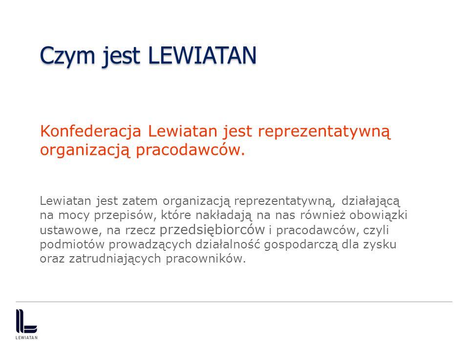 Czym jest LEWIATAN Konfederacja Lewiatan jest reprezentatywną organizacją pracodawców.