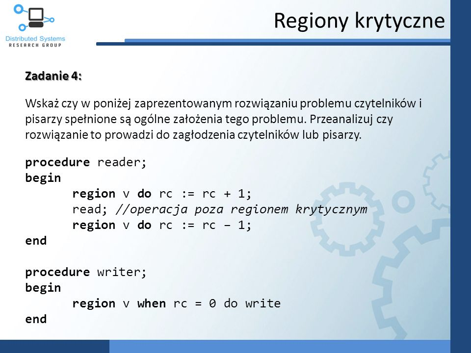 Regiony krytyczne Zadanie 4:
