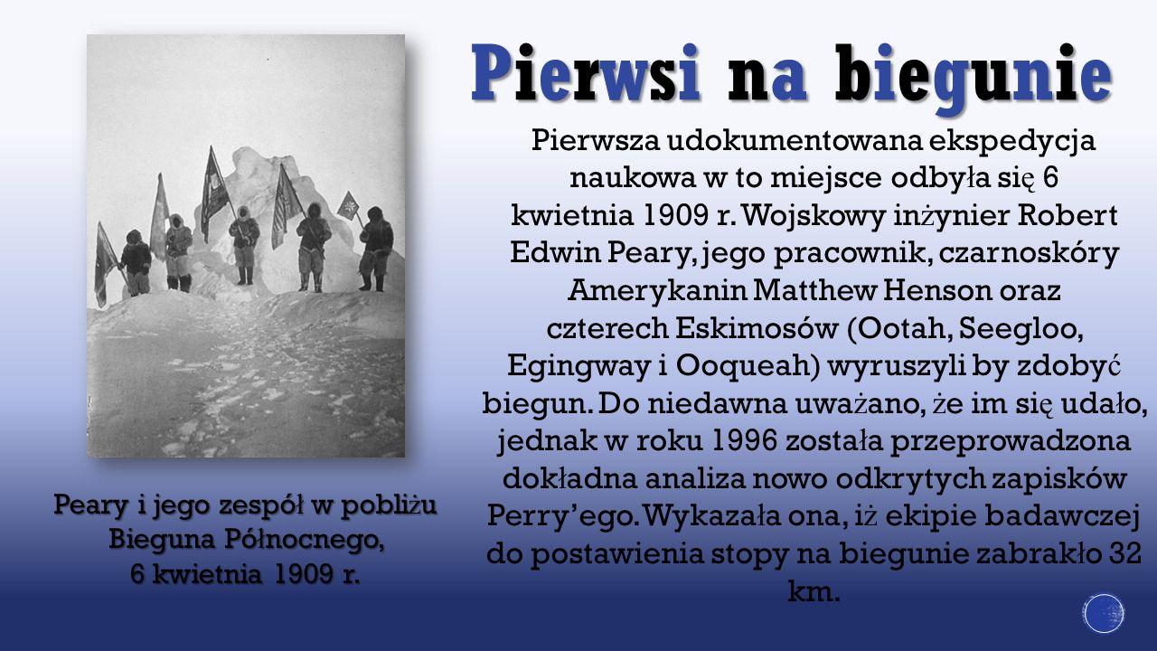 Peary i jego zespół w pobliżu Bieguna Północnego, 6 kwietnia 1909 r.