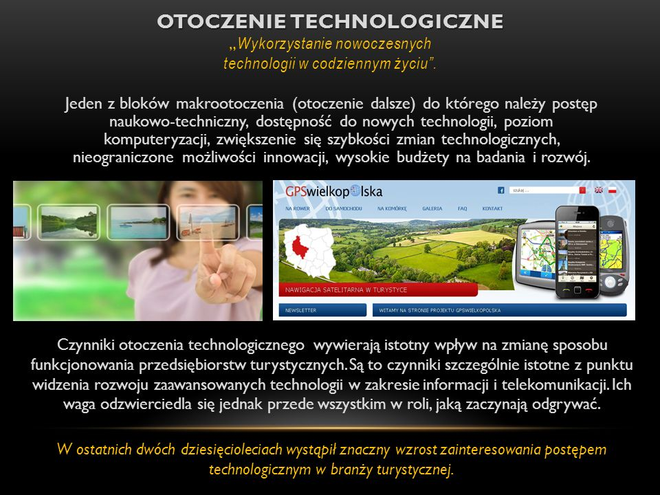 """Otoczenie technologiczne """"Wykorzystanie nowoczesnych technologii w codziennym życiu ."""