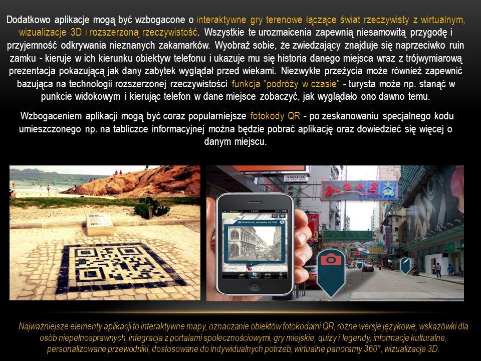 Dodatkowo aplikacje mogą być wzbogacone o interaktywne gry terenowe łączące świat rzeczywisty z wirtualnym, wizualizacje 3D i rozszerzoną rzeczywistość. Wszystkie te urozmaicenia zapewnią niesamowitą przygodę i przyjemność odkrywania nieznanych zakamarków. Wyobraź sobie, że zwiedzający znajduje się naprzeciwko ruin zamku - kieruje w ich kierunku obiektyw telefonu i ukazuje mu się historia danego miejsca wraz z trójwymiarową prezentacja pokazującą jak dany zabytek wyglądał przed wiekami. Niezwykłe przeżycia może również zapewnić bazująca na technologii rozszerzonej rzeczywistości funkcja podróży w czasie - turysta może np. stanąć w punkcie widokowym i kierując telefon w dane miejsce zobaczyć, jak wyglądało ono dawno temu. Wzbogaceniem aplikacji mogą być coraz popularniejsze fotokody QR - po zeskanowaniu specjalnego kodu umieszczonego np. na tabliczce informacyjnej można będzie pobrać aplikację oraz dowiedzieć się więcej o danym miejscu.