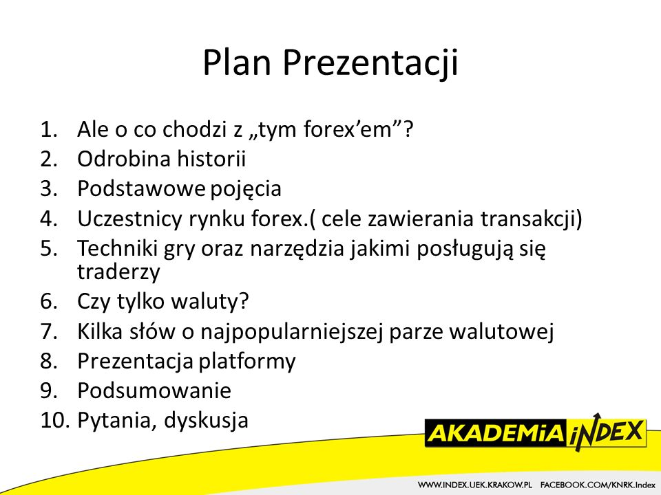 """Plan Prezentacji Ale o co chodzi z """"tym forex'em Odrobina historii"""