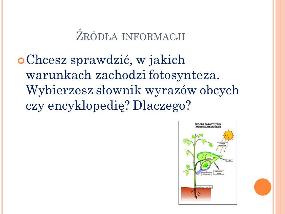 Źródła informacji Chcesz sprawdzić, w jakich warunkach zachodzi fotosynteza.