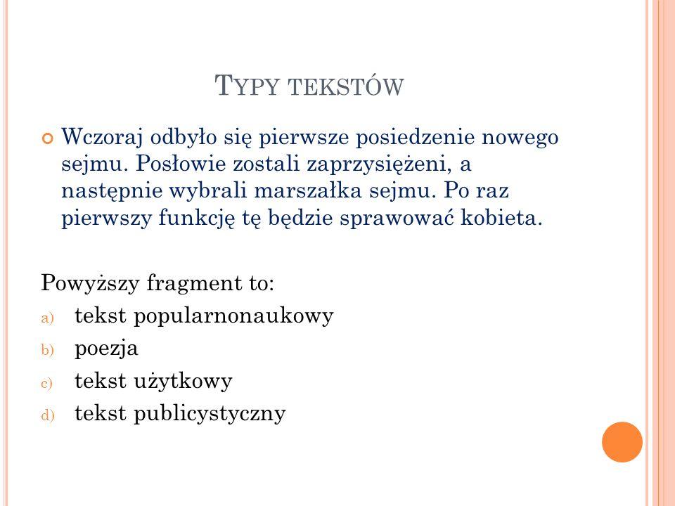 Typy tekstów