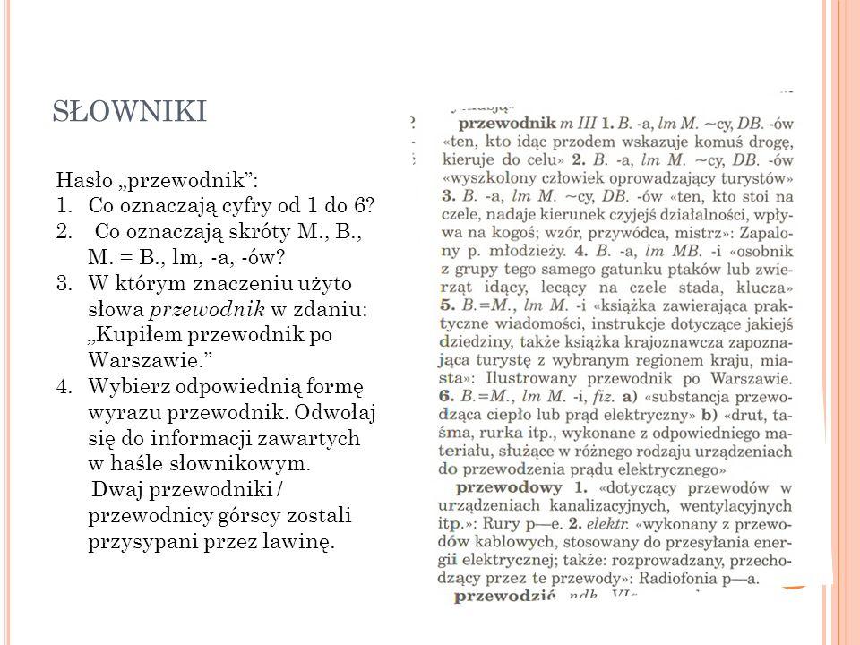 """słowniki Hasło """"przewodnik : Co oznaczają cyfry od 1 do 6"""