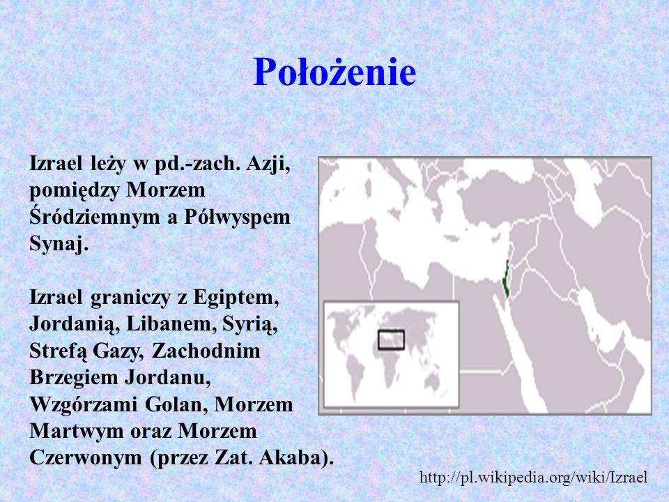 Położenie Izrael leży w pd.-zach. Azji, pomiędzy Morzem Śródziemnym a Półwyspem Synaj. Izrael graniczy z Egiptem, Jordanią, Libanem, Syrią,