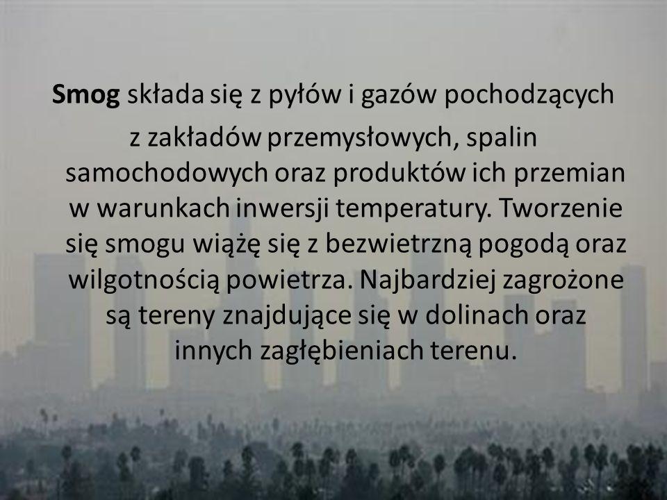 Smog składa się z pyłów i gazów pochodzących z zakładów przemysłowych, spalin samochodowych oraz produktów ich przemian w warunkach inwersji temperatury.