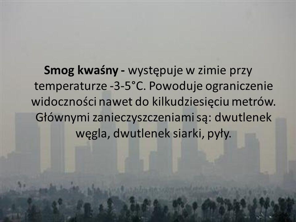 Smog kwaśny - występuje w zimie przy temperaturze -3-5°C