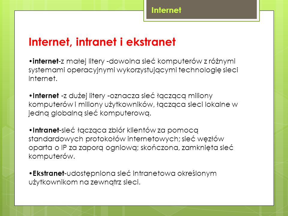 Internet, intranet i ekstranet