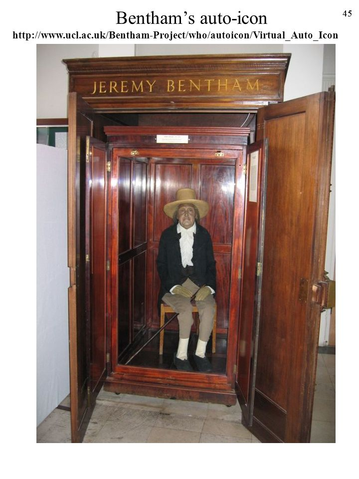 Bentham's auto-icon http://www.ucl.ac.uk/Bentham-Project/who/autoicon/Virtual_Auto_Icon 45