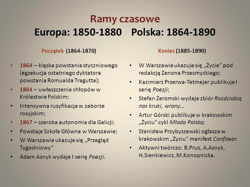 Ramy czasowe Europa: 1850-1880 Polska: 1864-1890