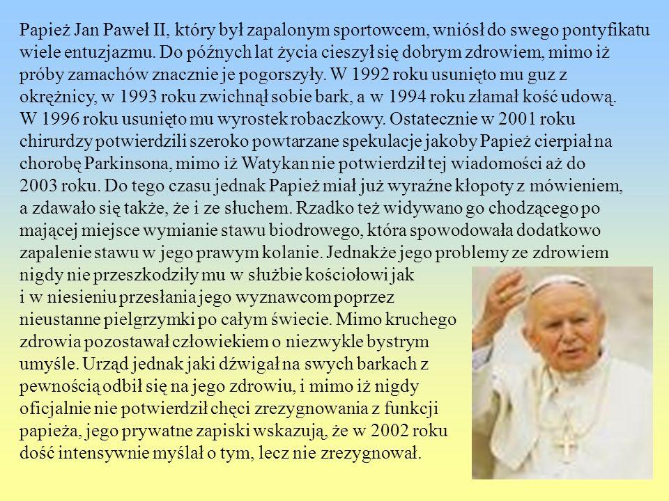 Papież Jan Paweł II, który był zapalonym sportowcem, wniósł do swego pontyfikatu