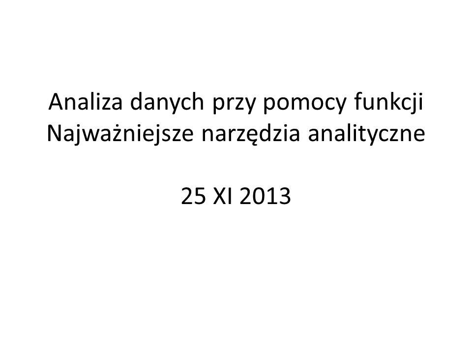 Analiza danych przy pomocy funkcji Najważniejsze narzędzia analityczne 25 XI 2013