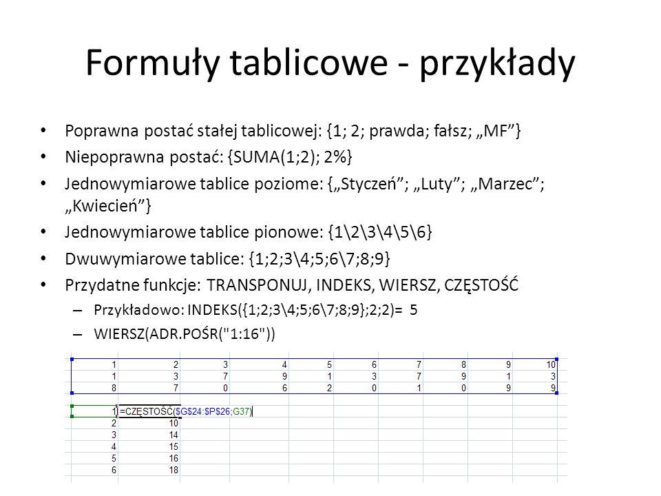 Formuły tablicowe - przykłady