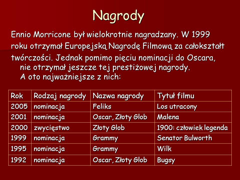 Nagrody Ennio Morricone był wielokrotnie nagradzany. W 1999