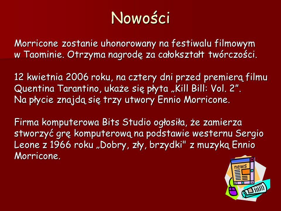 Nowości Morricone zostanie uhonorowany na festiwalu filmowym