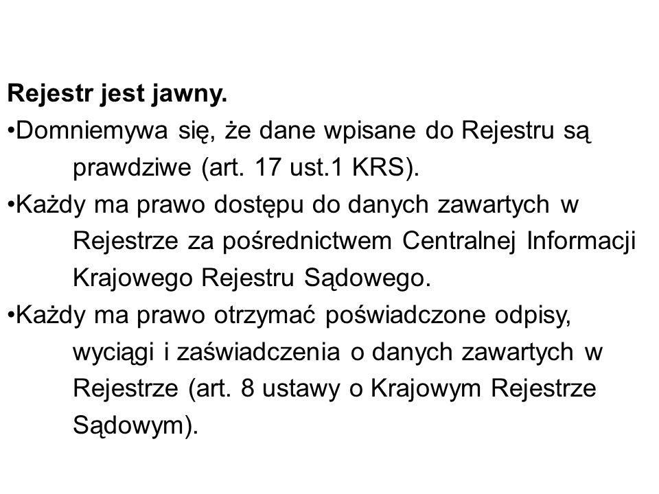 Rejestr jest jawny. Domniemywa się, że dane wpisane do Rejestru są prawdziwe (art. 17 ust.1 KRS).