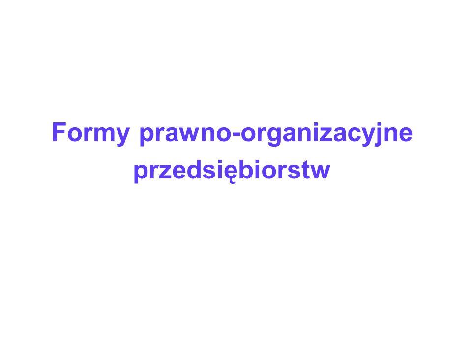 Formy prawno-organizacyjne przedsiębiorstw