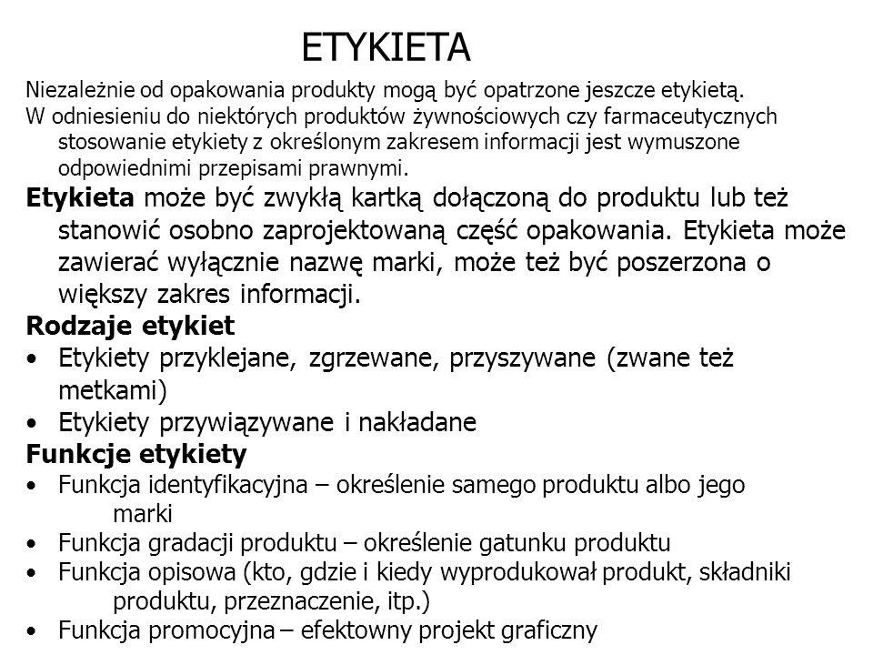 ETYKIETANiezależnie od opakowania produkty mogą być opatrzone jeszcze etykietą.
