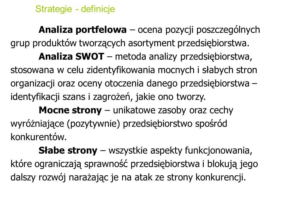 Strategie - definicjeAnaliza portfelowa – ocena pozycji poszczególnych grup produktów tworzących asortyment przedsiębiorstwa.