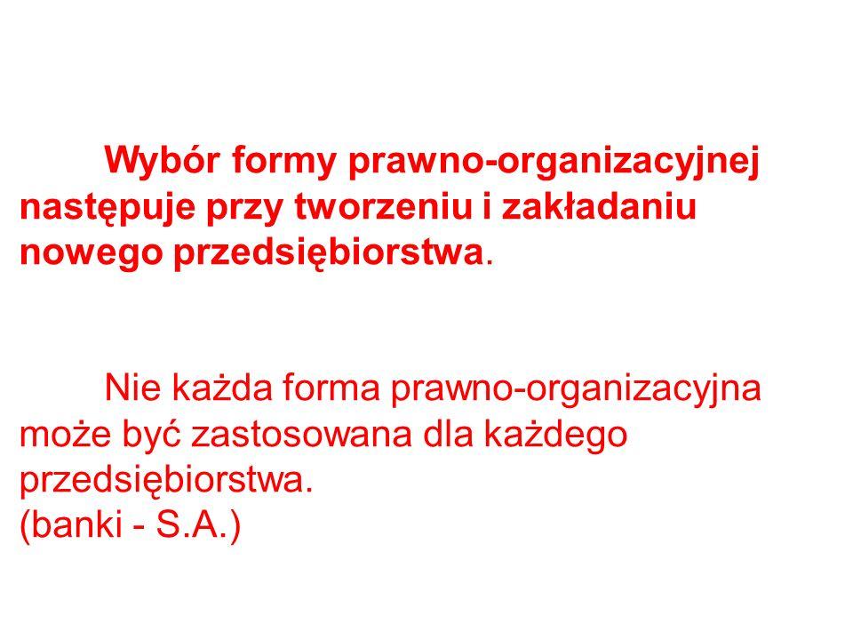 Wybór formy prawno-organizacyjnej następuje przy tworzeniu i zakładaniu nowego przedsiębiorstwa.