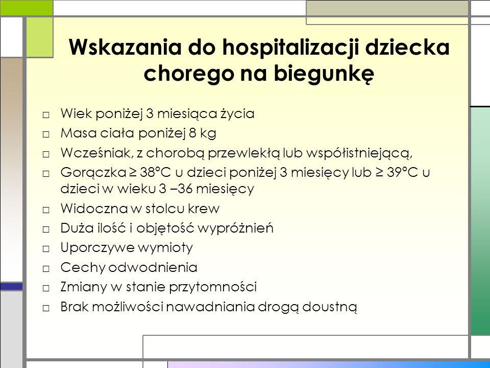 Wskazania do hospitalizacji dziecka chorego na biegunkę