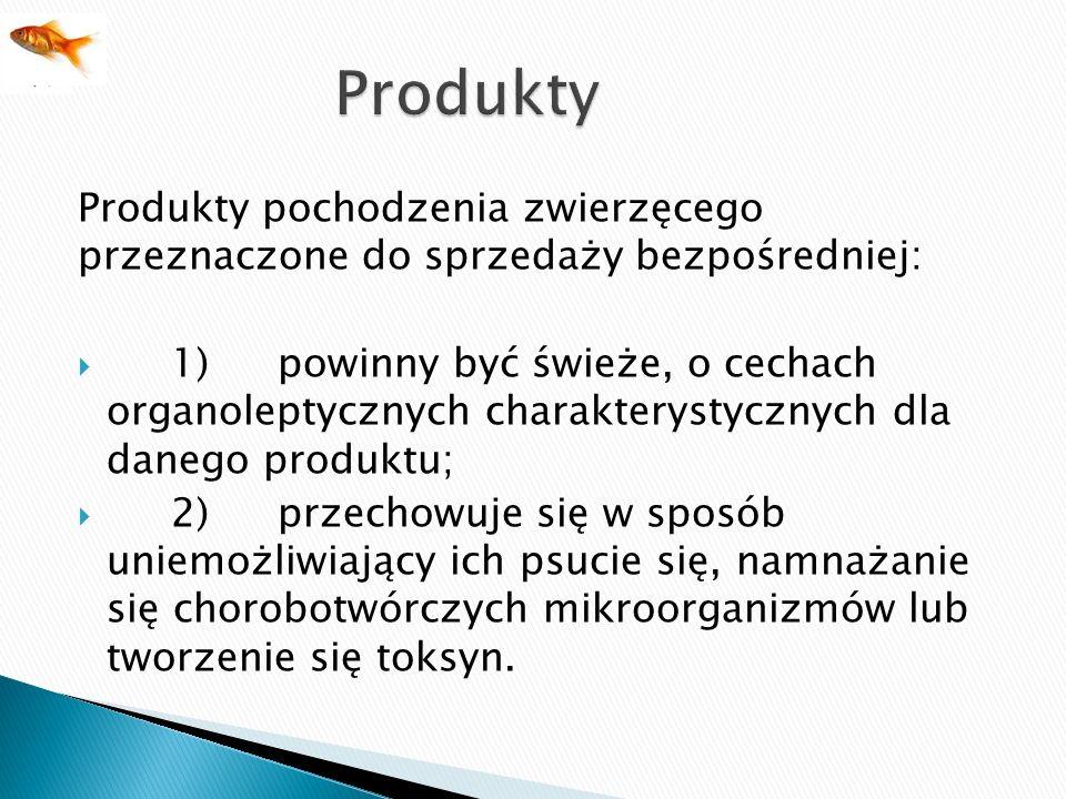 Produkty Produkty pochodzenia zwierzęcego przeznaczone do sprzedaży bezpośredniej: