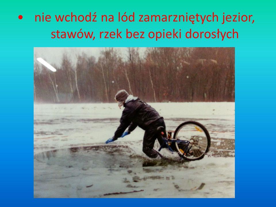 nie wchodź na lód zamarzniętych jezior, stawów, rzek bez opieki dorosłych
