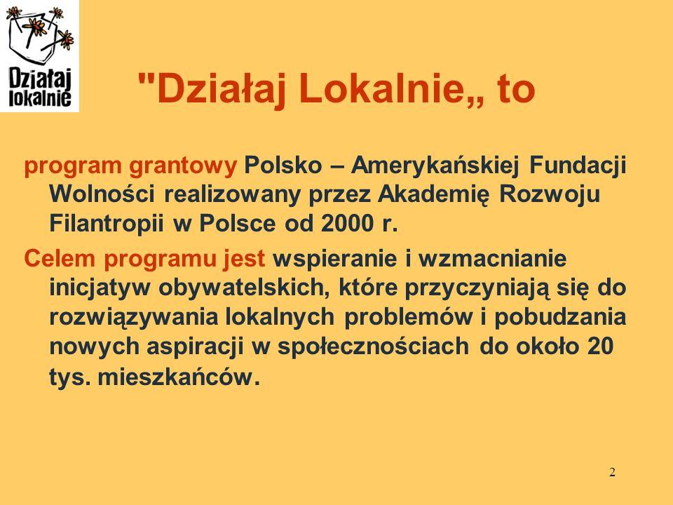 """Działaj Lokalnie"""" toprogram grantowy Polsko – Amerykańskiej Fundacji Wolności realizowany przez Akademię Rozwoju Filantropii w Polsce od 2000 r."""