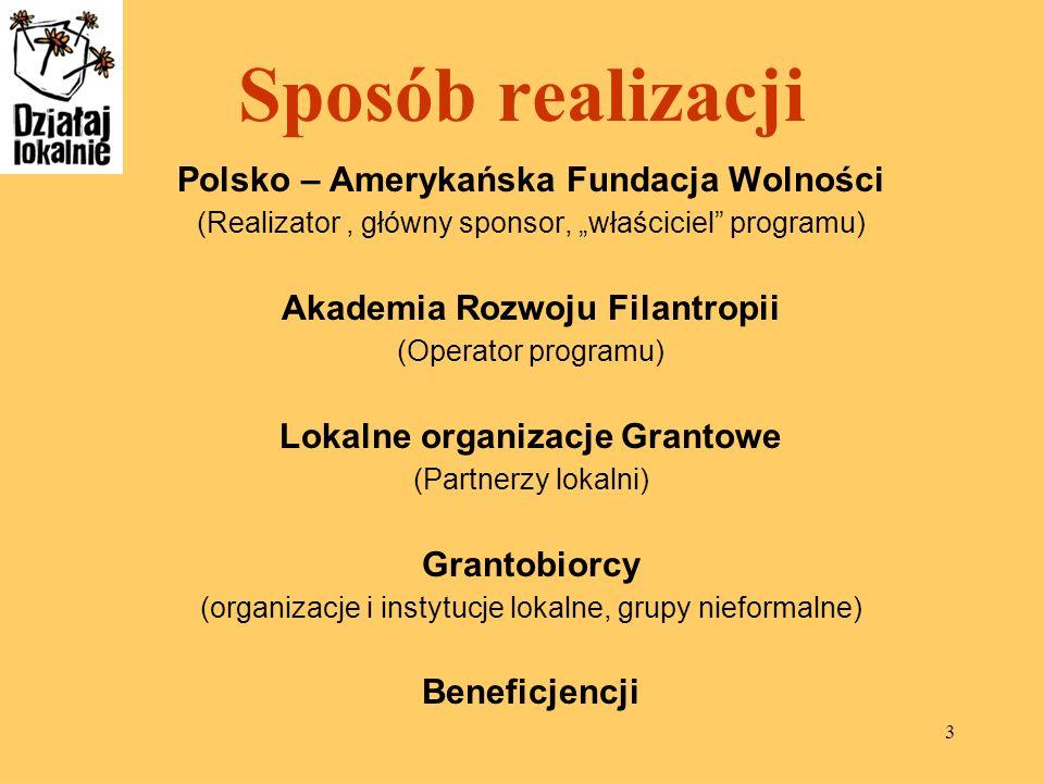 Sposób realizacji Polsko – Amerykańska Fundacja Wolności
