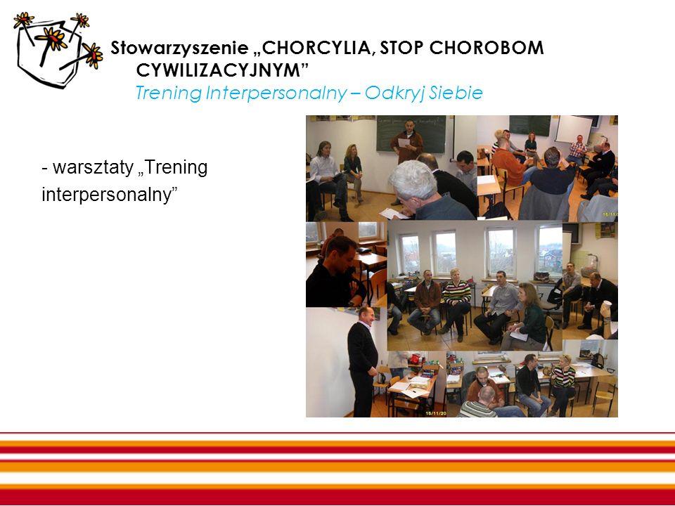 """Stowarzyszenie """"CHORCYLIA, STOP CHOROBOM CYWILIZACYJNYM Trening Interpersonalny – Odkryj Siebie"""