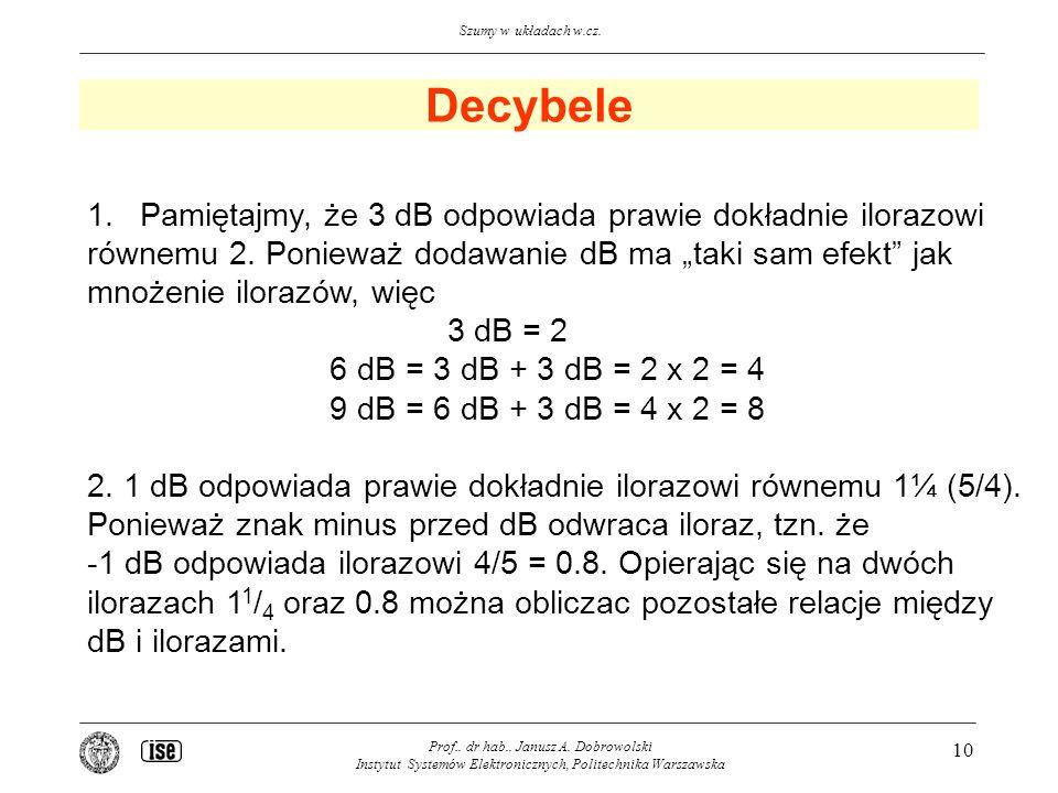 Decybele Pamiętajmy, że 3 dB odpowiada prawie dokładnie ilorazowi