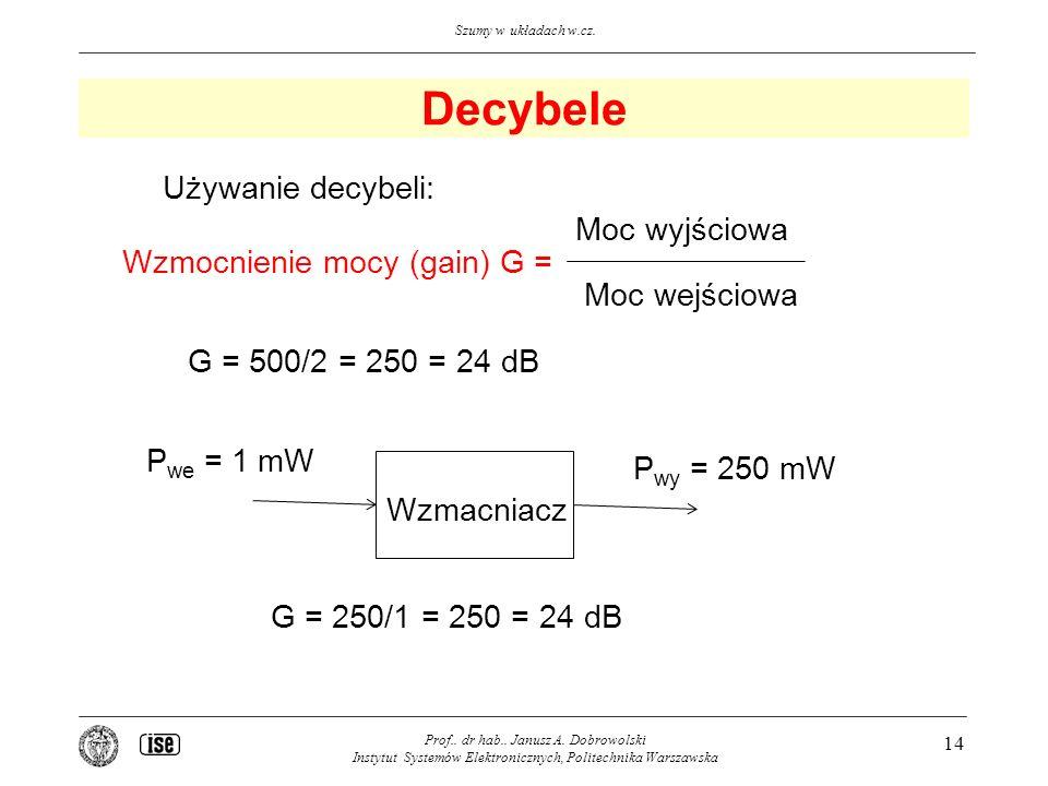 Decybele Używanie decybeli: Moc wyjściowa Wzmocnienie mocy (gain) G =