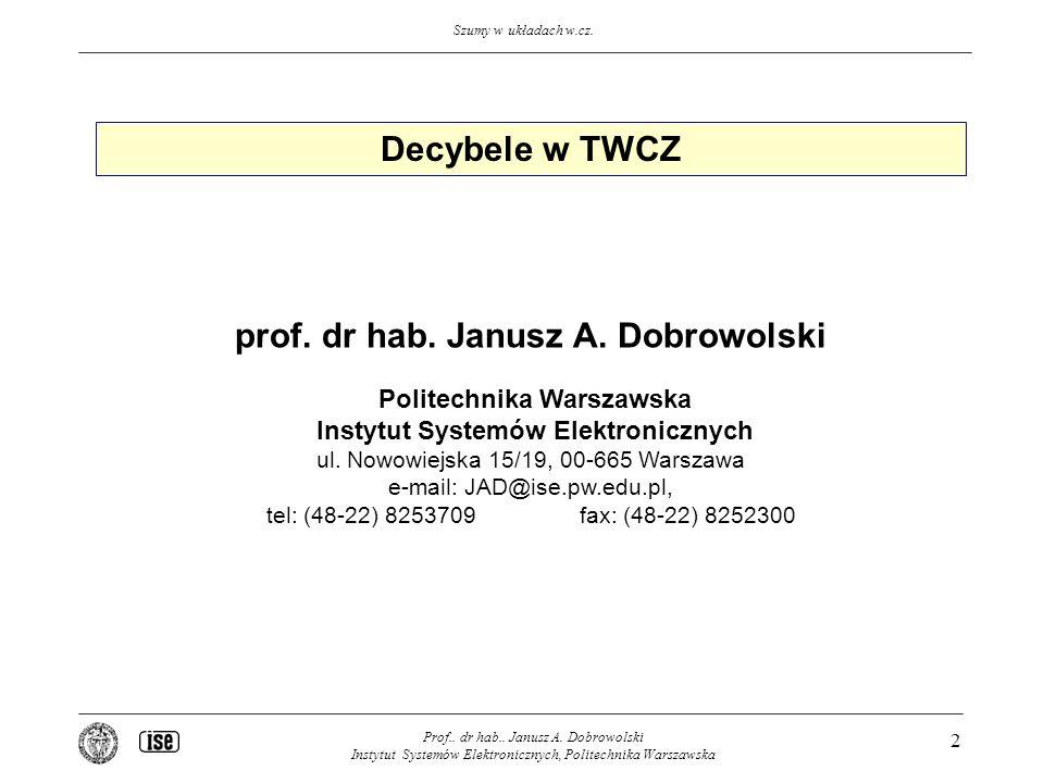 Decybele w TWCZ prof. dr hab. Janusz A. Dobrowolski