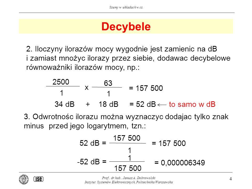 Decybele 2. Iloczyny ilorazów mocy wygodnie jest zamienic na dB