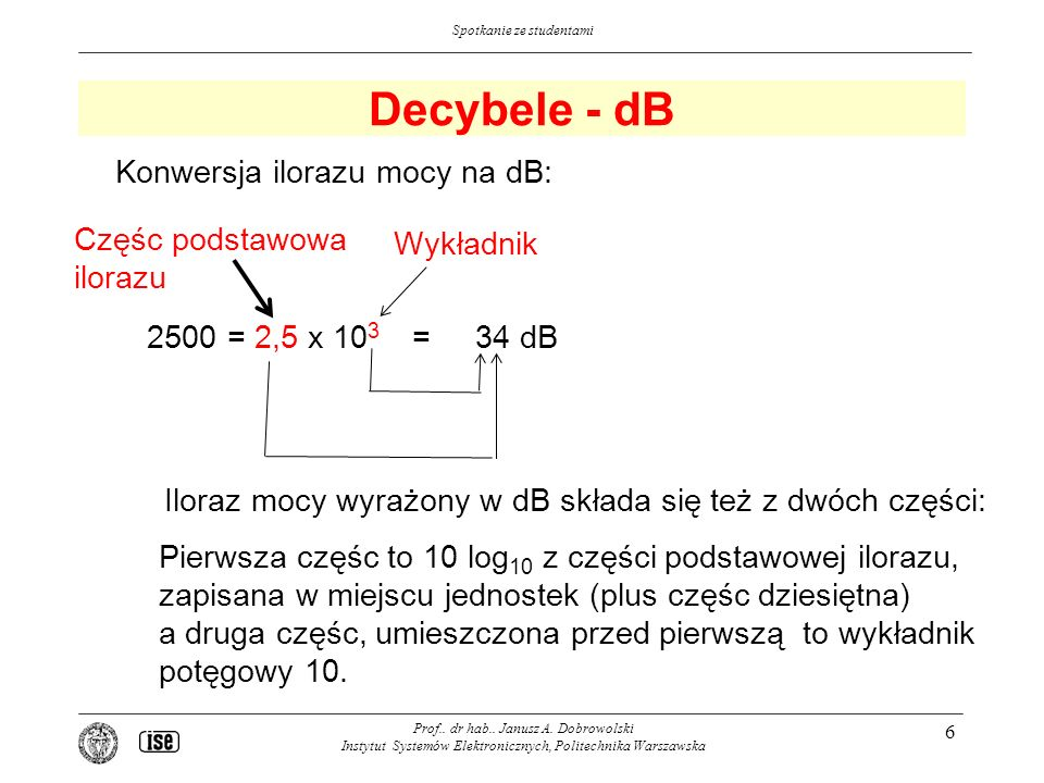 Decybele - dB Konwersja ilorazu mocy na dB: Częśc podstawowa Wykładnik