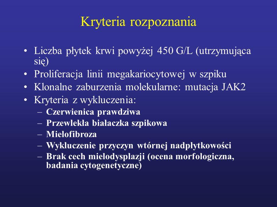 Kryteria rozpoznania Liczba płytek krwi powyżej 450 G/L (utrzymująca się) Proliferacja linii megakariocytowej w szpiku.