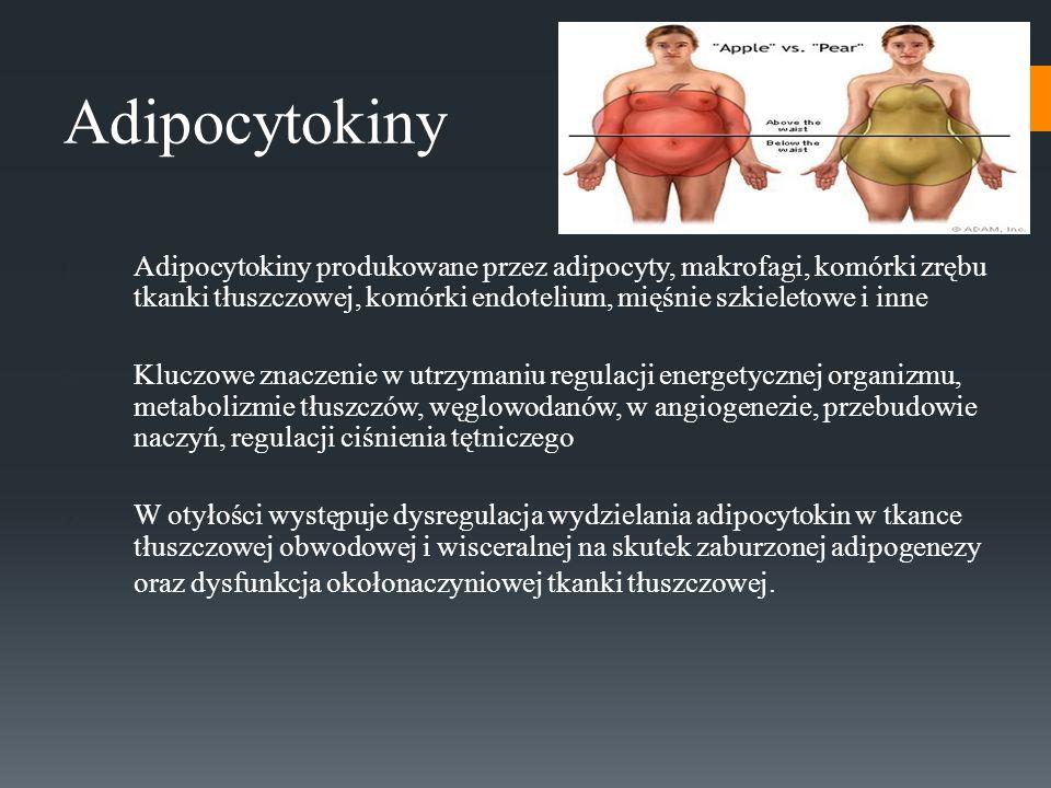 Adipocytokiny Adipocytokiny produkowane przez adipocyty, makrofagi, komórki zrębu tkanki tłuszczowej, komórki endotelium, mięśnie szkieletowe i inne.