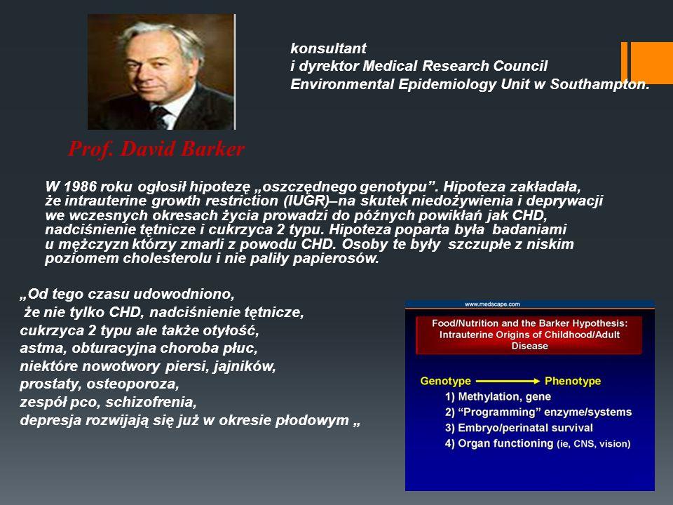 Prof. David Barker konsultant i dyrektor Medical Research Council