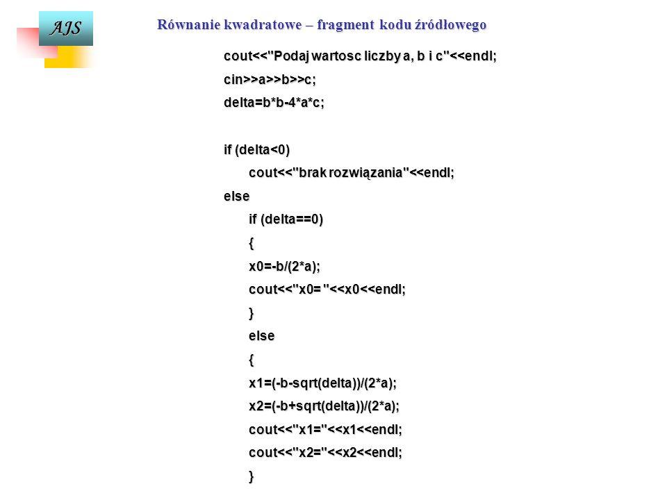 Równanie kwadratowe – fragment kodu źródłowego