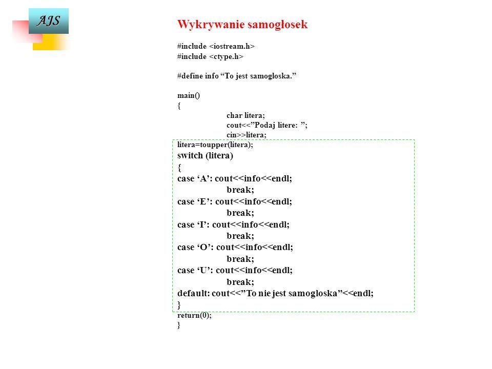 Wykrywanie samogłosek #include <iostream. h> #include <ctype