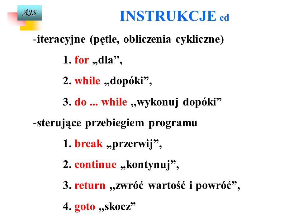 """INSTRUKCJE cd iteracyjne (pętle, obliczenia cykliczne) 1. for """"dla ,"""