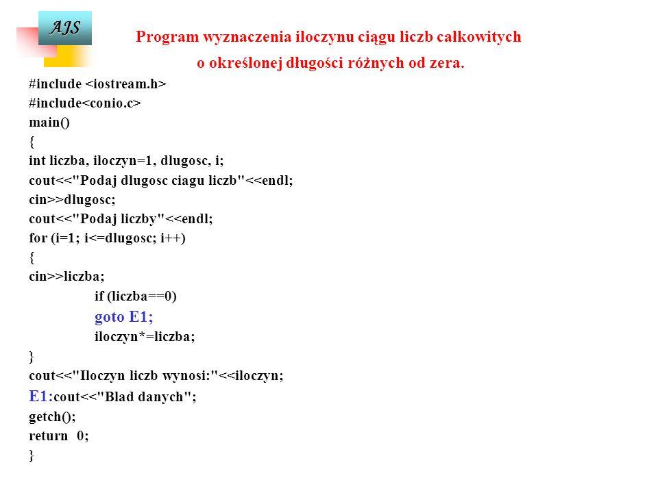 Program wyznaczenia iloczynu ciągu liczb całkowitych