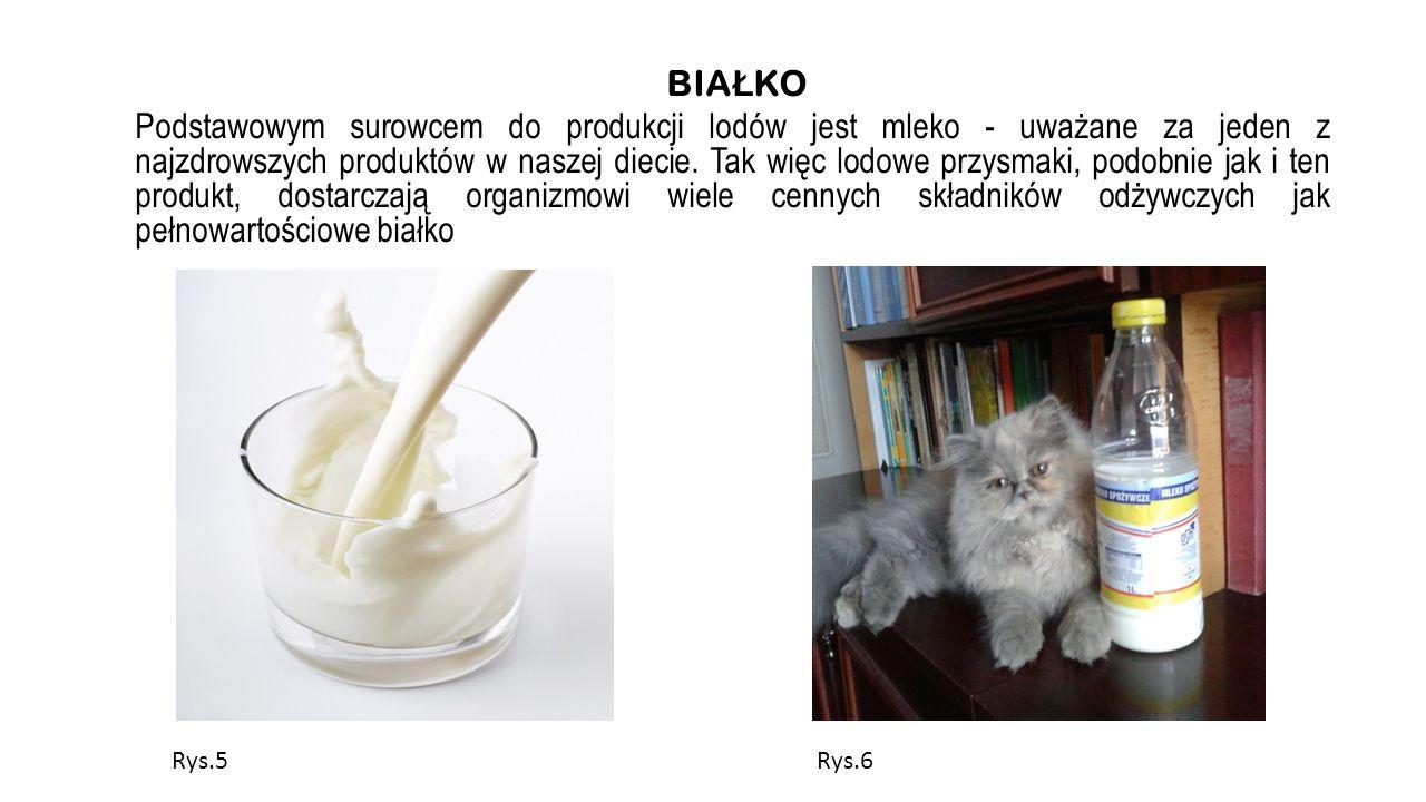 BIAŁKO Podstawowym surowcem do produkcji lodów jest mleko - uważane za jeden z najzdrowszych produktów w naszej diecie. Tak więc lodowe przysmaki, podobnie jak i ten produkt, dostarczają organizmowi wiele cennych składników odżywczych jak pełnowartościowe białko