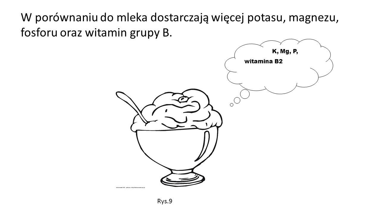 W porównaniu do mleka dostarczają więcej potasu, magnezu, fosforu oraz witamin grupy B.