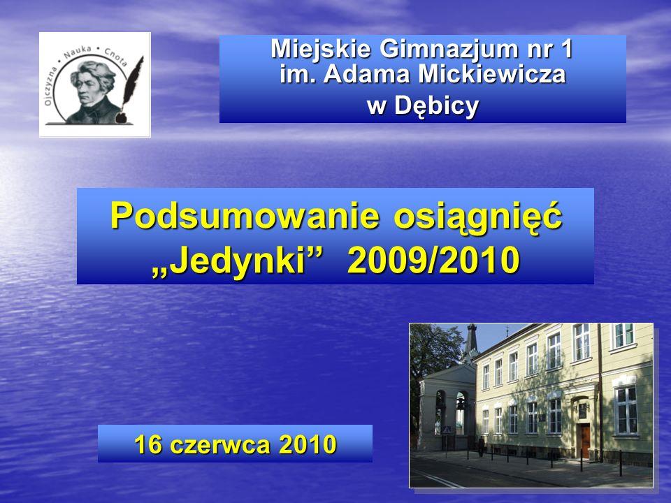 """Podsumowanie osiągnięć """"Jedynki 2009/2010"""