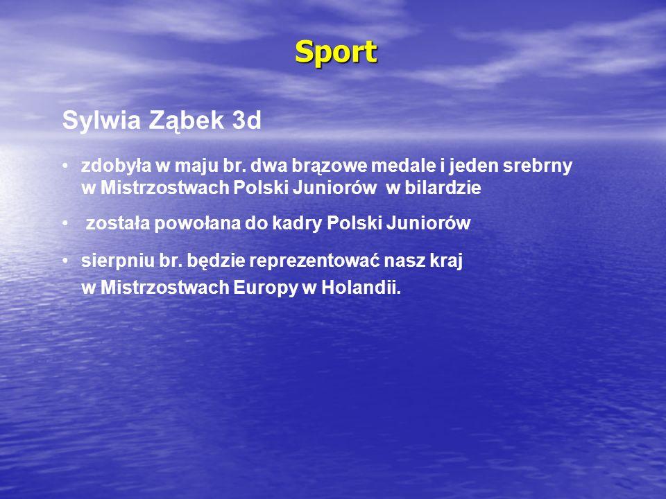 Sport Sylwia Ząbek 3d. zdobyła w maju br. dwa brązowe medale i jeden srebrny w Mistrzostwach Polski Juniorów w bilardzie.