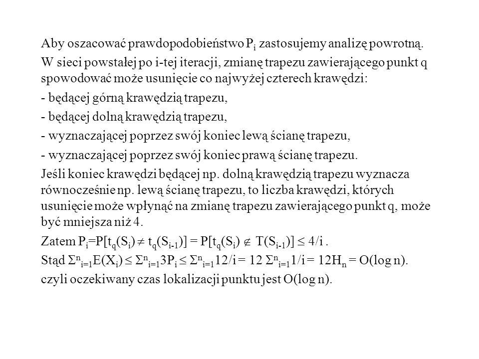 Aby oszacować prawdopodobieństwo Pi zastosujemy analizę powrotną.